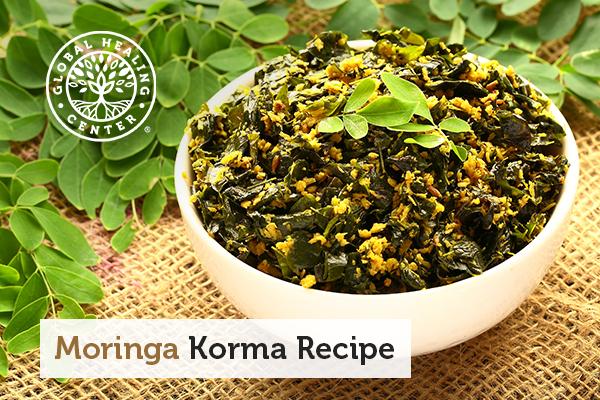 A bowl of moringa korma curry.