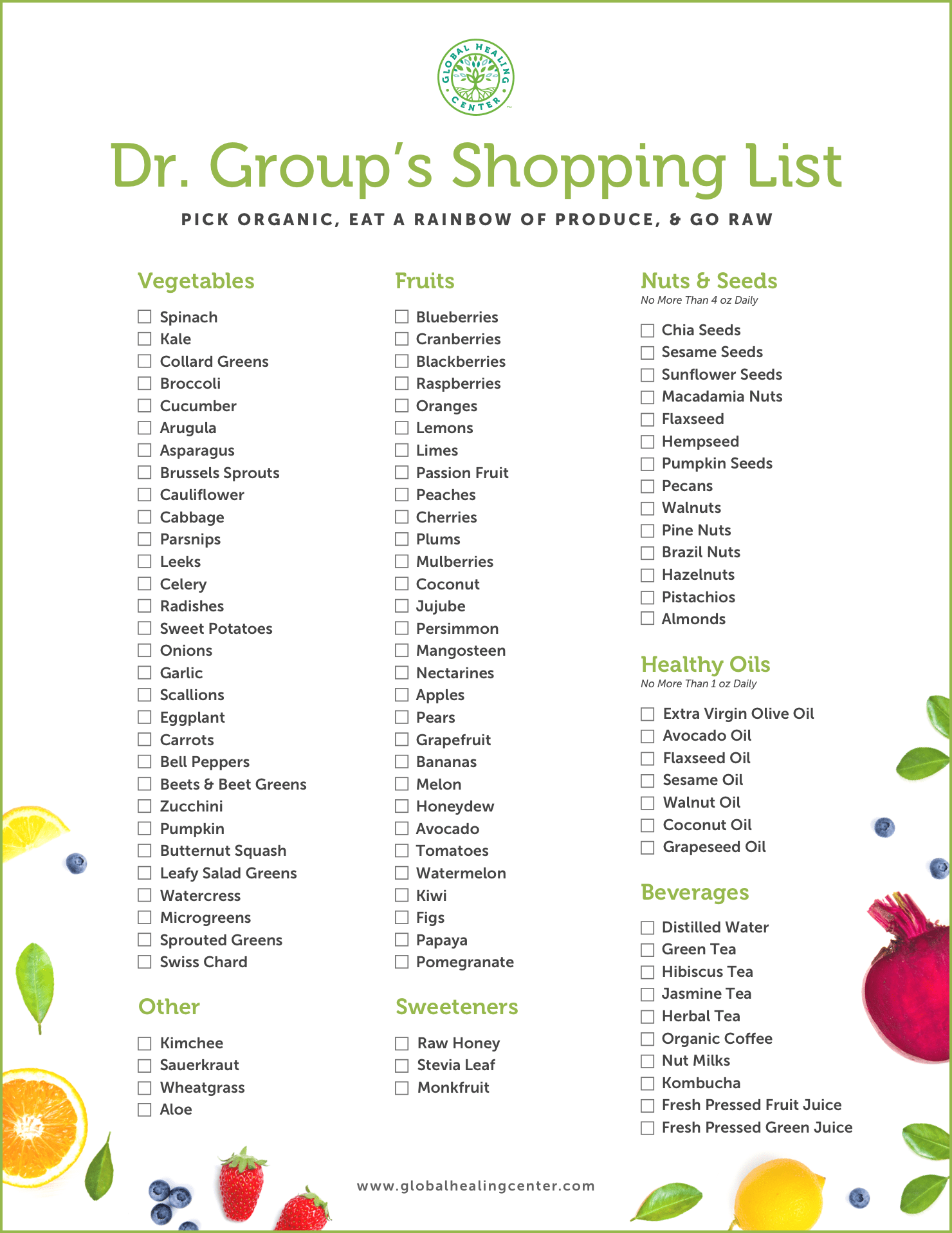 Browse through an array of Dr. Group's plant-based shopping list.