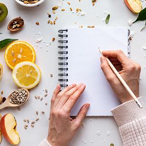A woman journaling.