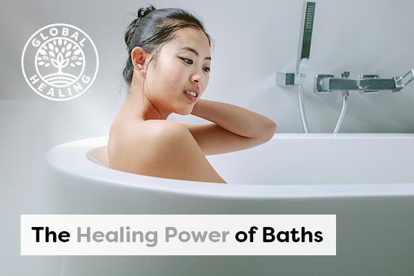 A woman taking a bath.