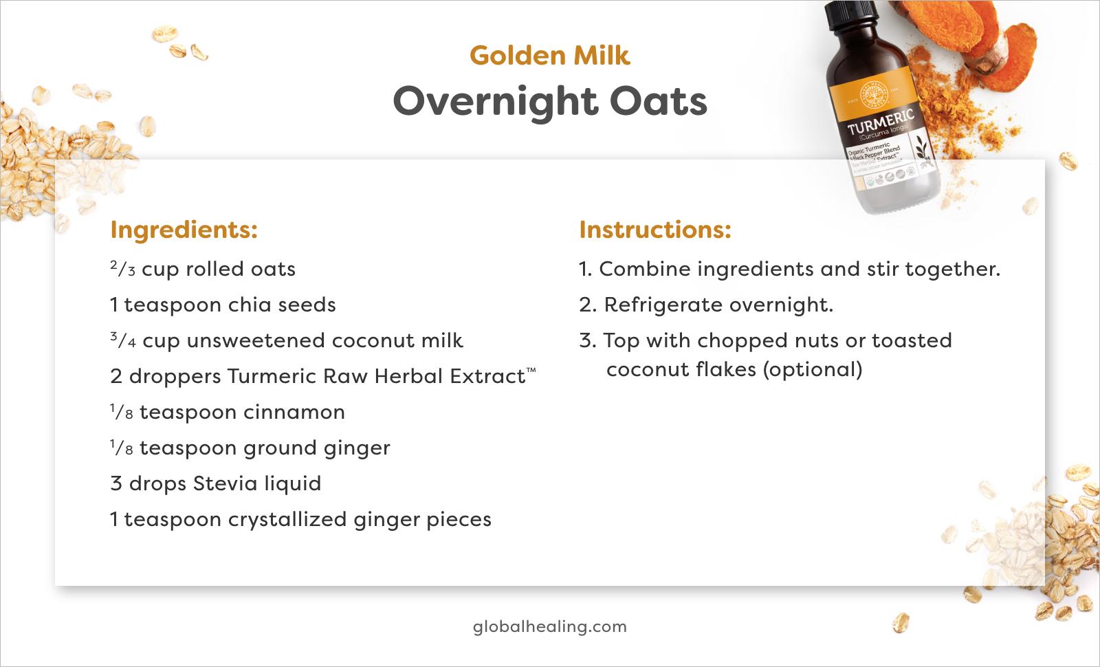 Golden Milk Overnight Oats recipe card.
