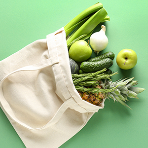 A reusable bag with produce.