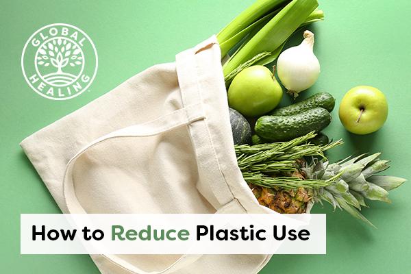 A reusable bag with produce.