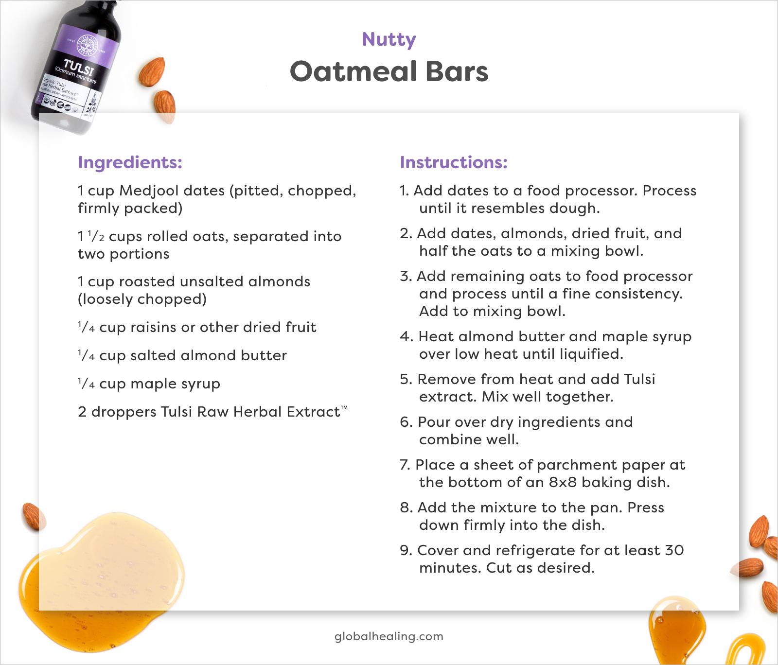 Nutty Oatmeal Bars recipe cards.