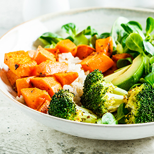 Bowl of vegetables.