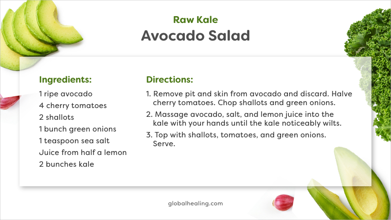 Raw Kale Avocado Salad Recipe