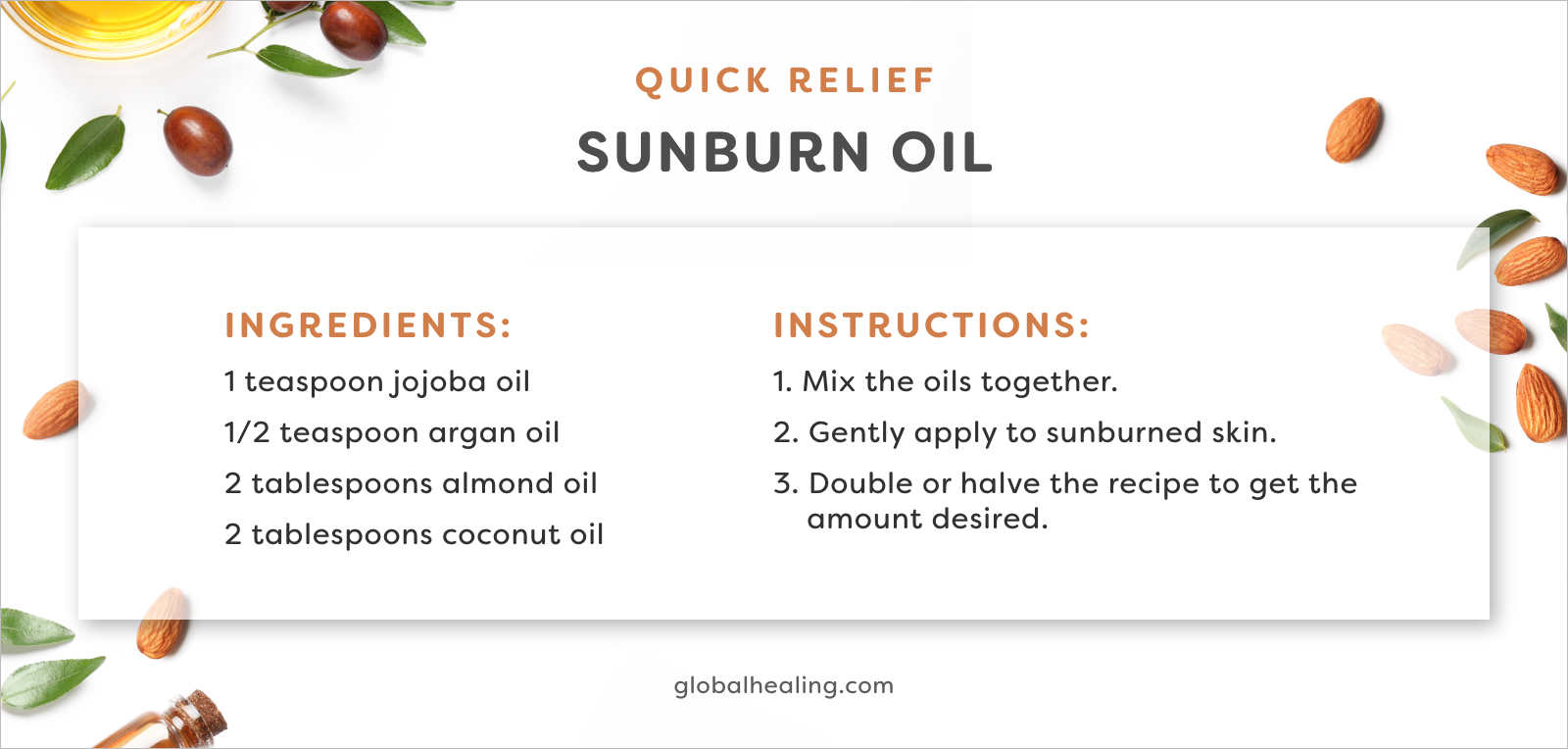 Try this quick relief sunburn oil recipe that'll soothe your skin quickly.